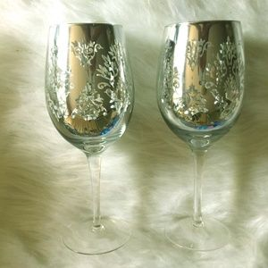 Silver Dazzle Silver Plated Laser Etch Wine Glass